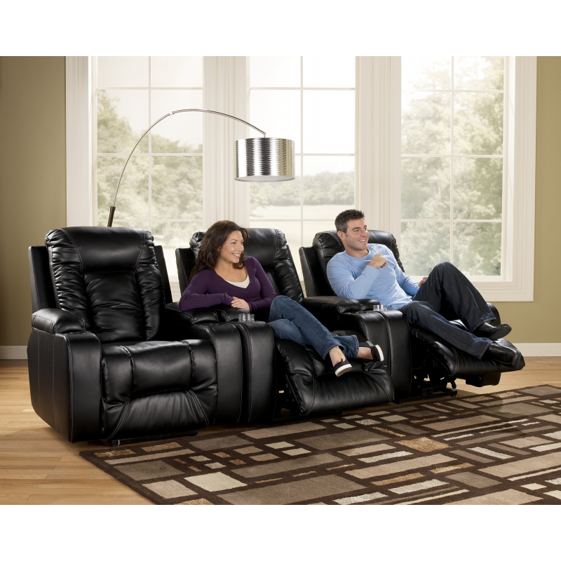 Matinee DuraBlend®   Eclipse Contemporary 3 Piece Theater Seating Group  With Power Recline By Signature Design By Ashley