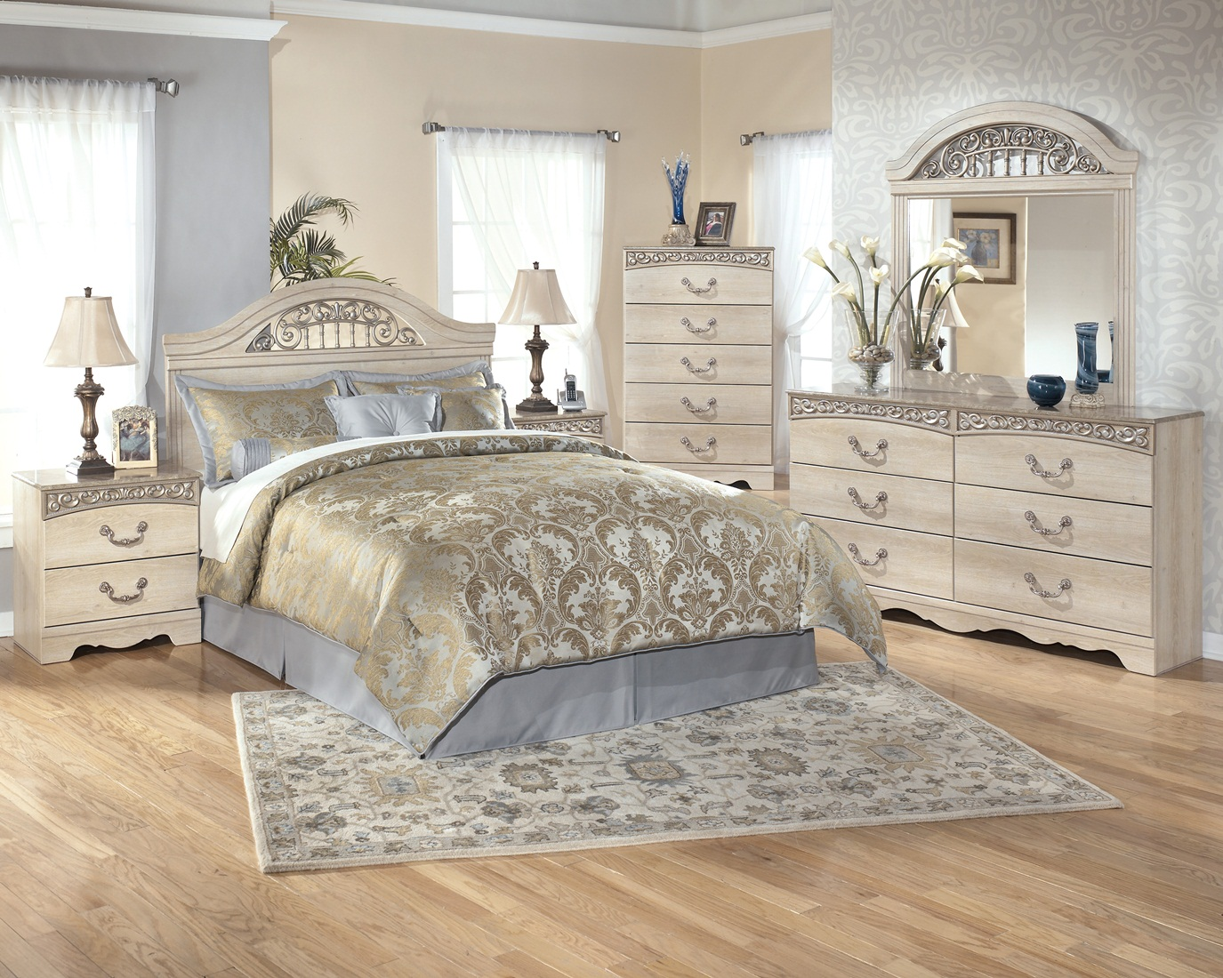 . Ashley Catilina Panel 4PC Bedroom Set