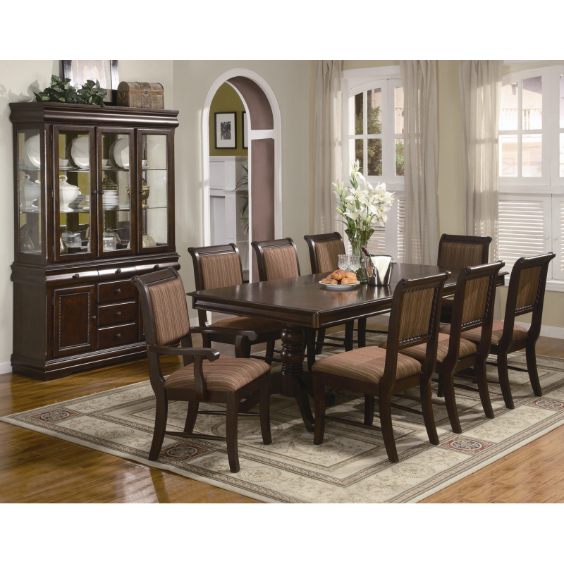 Traditional Dining Room Furniture Sets: Traditional Merlot 9PC Formal Dining Set