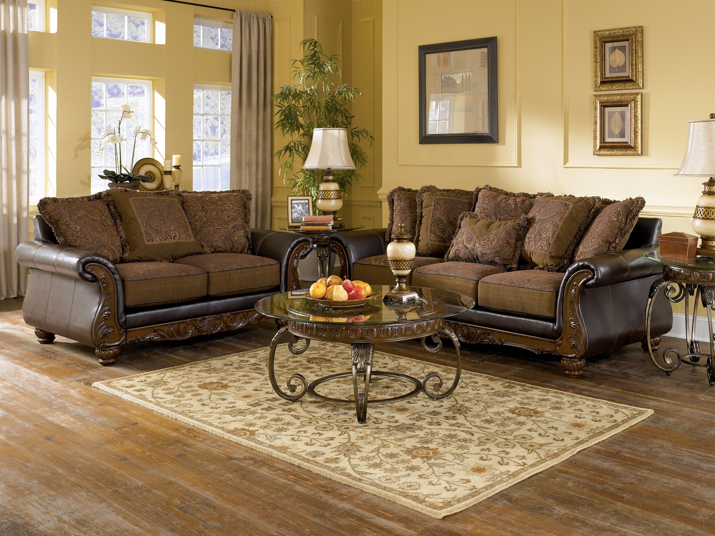 Living Room Loveseats Ashley Wilmington Walnut Sofa Loveseat