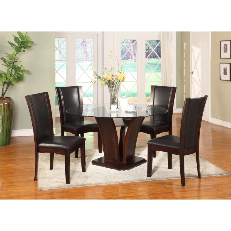 Manhattan 5pc Dining Table : glass top round dining table from welchsfurniture.com size 800 x 800 png 679kB
