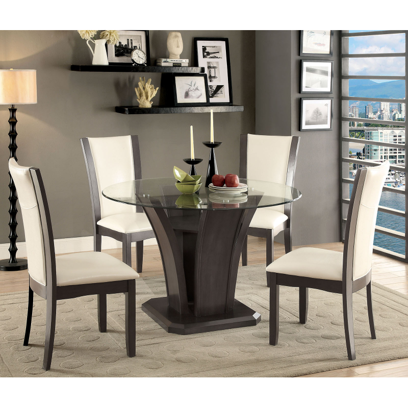 Dining Glass Table Set: Manhattan 5pc Dining Table